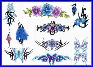 butterfly and floral tattoos