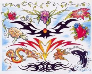 cross and flower tattoos
