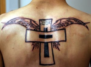 cross and wing tattoos