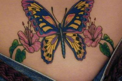 Full Color Lower Back Tattoos For Girls With Butterfly Tattoo Designs Specially Full Colored Lower Back Butterfly Tattoos Pictures Body Arts Images